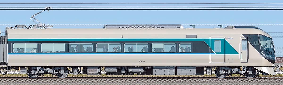 東武500系「リバティ」モハ510-1山側の側面写真