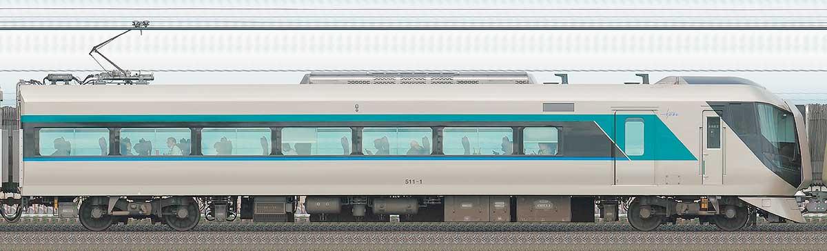 東武500系「リバティ」モハ511-1山側の側面写真