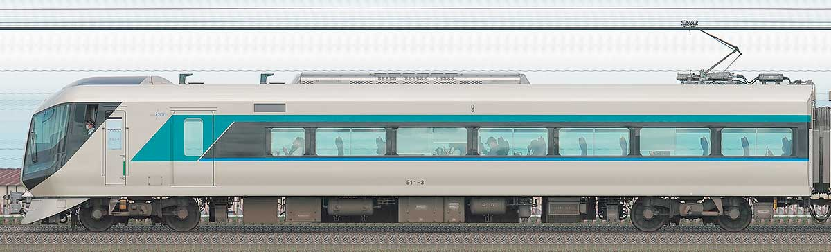 東武500系「リバティ」モハ511-3山側の側面写真