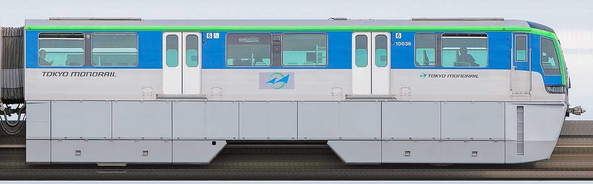 東京モノレール10000形10036山側の側面写真