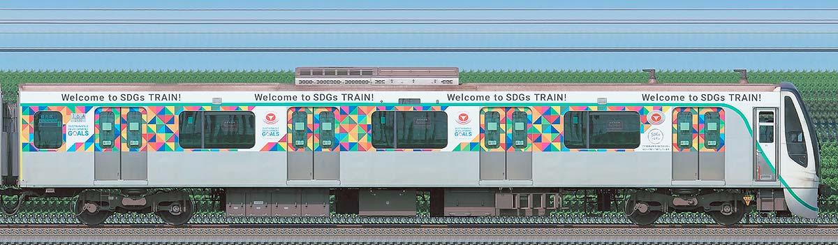 東急2020系「SDGsトレイン 美しい時代へ号」クハ2130海側の側面写真