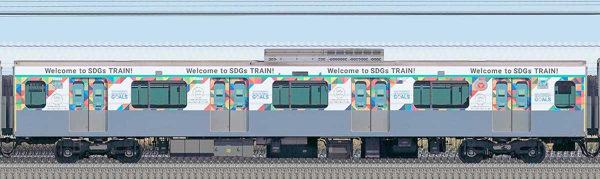 東急2020系「SDGsトレイン 美しい時代へ号」デハ2230山側の側面写真