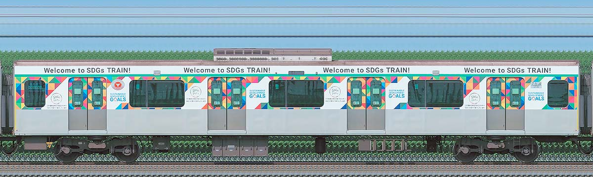 東急2020系「SDGsトレイン 美しい時代へ号」サハ2730海側の側面写真