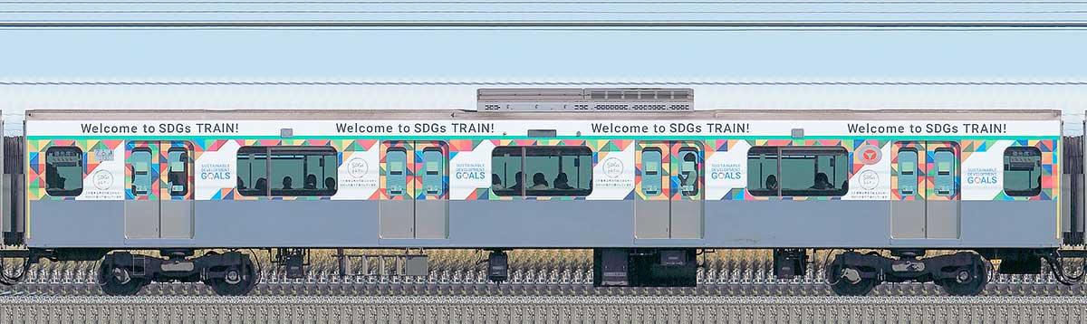 東急2020系「SDGsトレイン 美しい時代へ号」サハ2730山側の側面写真