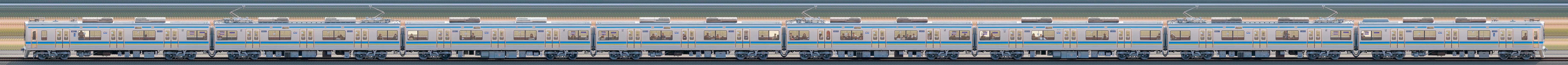 千葉ニュータウン鉄道9800形9808編成(集電装置交換後・山側)の編成サイドビュー