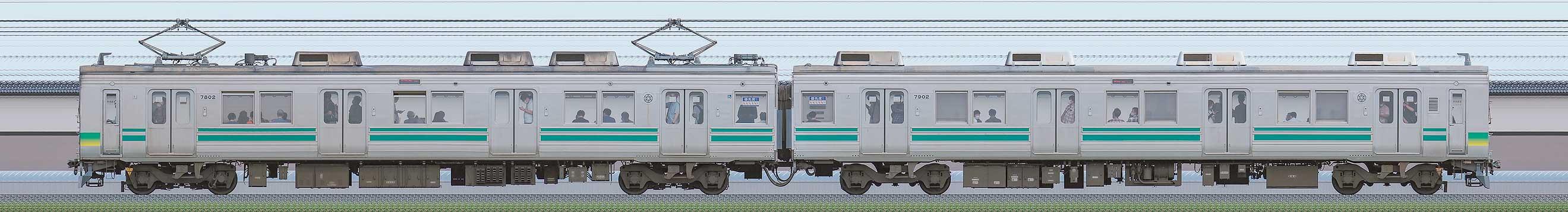 秩父鉄道7800系7802編成(北側)の編成サイドビュー