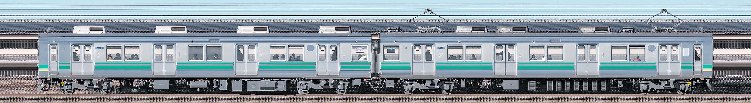 秩父鉄道7800系7801編成の編成サイドビュー