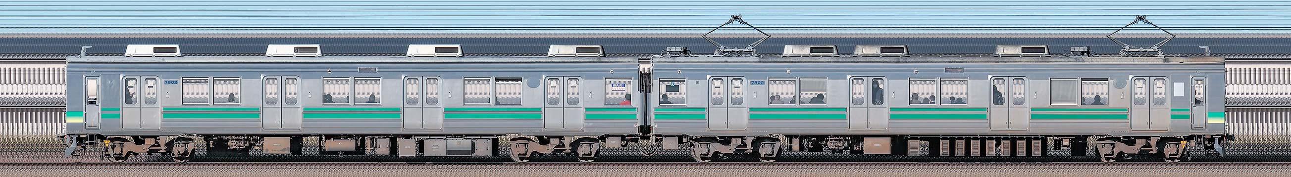 秩父鉄道7800系7802編成(南側)の編成サイドビュー