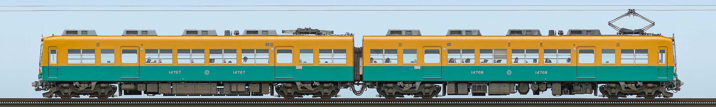 富山地鉄14760形第4編成(新塗装・山側)の編成サイドビュー