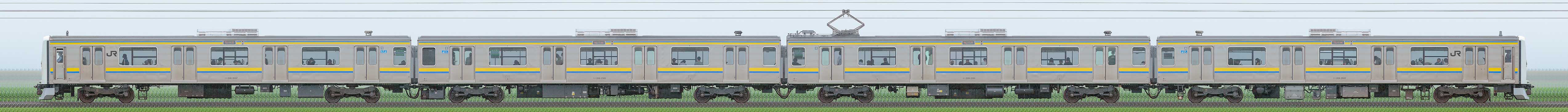 JR東日本 幕張車両センター 209系2000番台C433編成(線路設備モニタリング装置搭載編成・海側)の編成サイドビュー