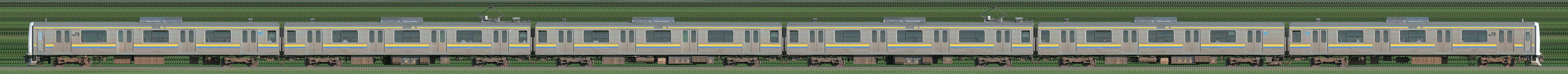 JR東日本 幕張車両センター 209系2100番台C607編成(山側)の編成サイドビュー