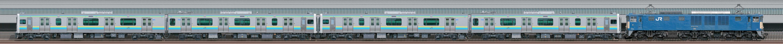 JR東日本幕張車両センターE131系R03編成+R04編成配給輸送(海側)の編成サイドビュー