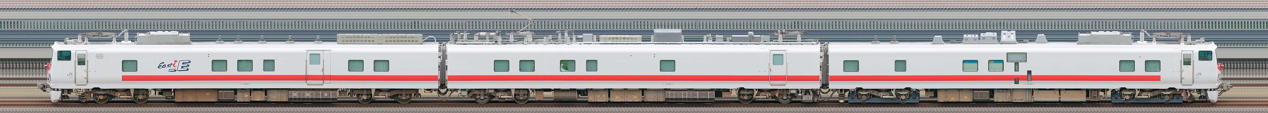 JR東日本E491系電気・軌道総合試験交直流電車「East i-E」(山側)の編成サイドビュー