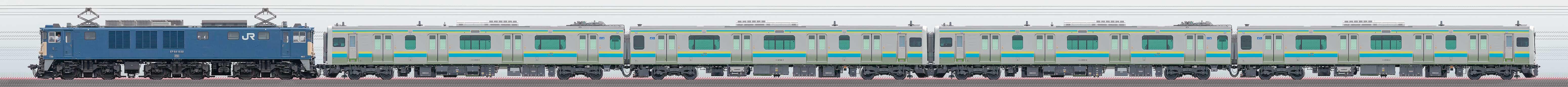 JR東日本幕張車両センターE131系R01編成+R02編成配給輸送(山側)の編成サイドビュー