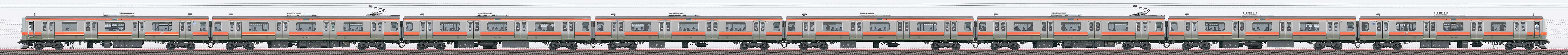 JR東日本 武蔵野線 E231系900番台MU1編成(山側)の編成サイドビュー