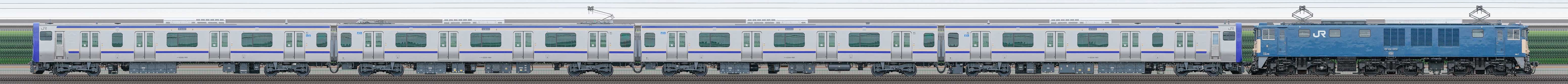 JR東日本 横須賀線・総武快速線 E235系1000番台J-01編成配給輸送(山側)の編成サイドビュー