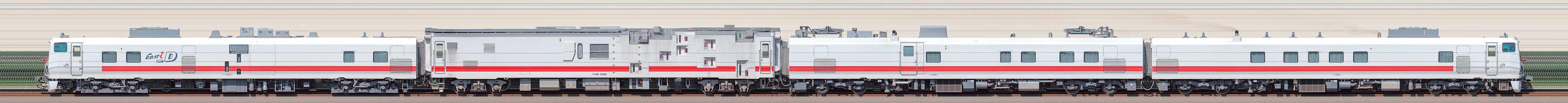 JR東日本キヤE193系電気・軌道総合試験気動車「East i-D」+マヤ50 5001の編成サイドビュー