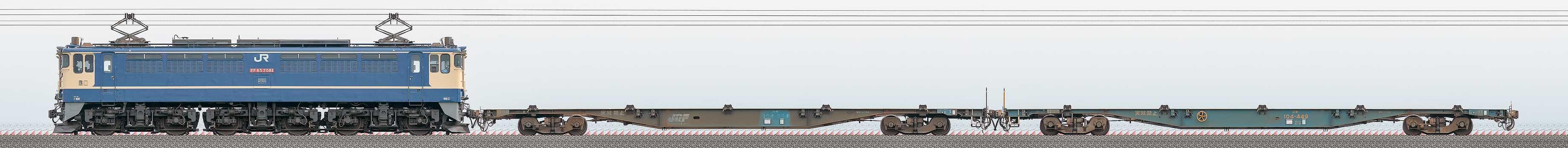 JR貨物EF65 2081+コキ100系2車(配8790列車)の編成サイドビュー