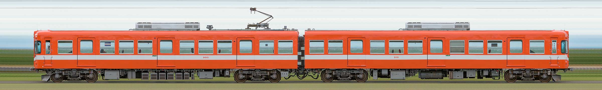 岳南電車9000形モハ9001+クハ9101の編成サイドビュー