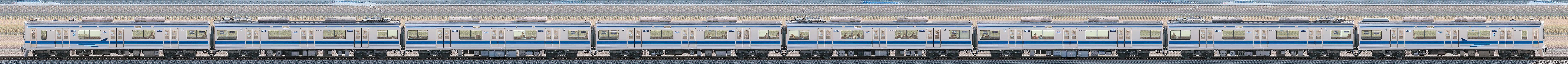 北総7800形7828編成(集電装置・補助電源装置交換後/山側)の編成サイドビュー