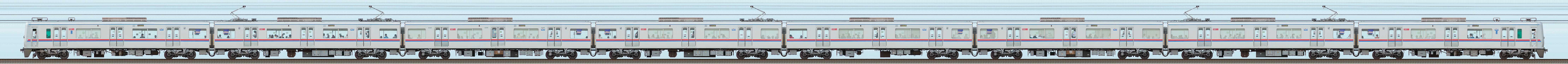 京成3000形(1次車)3001編成(海側)の編成サイドビュー