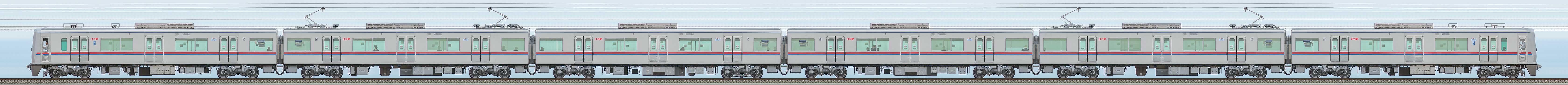 京成3000形(11次車)3031編成(海側)の編成サイドビュー