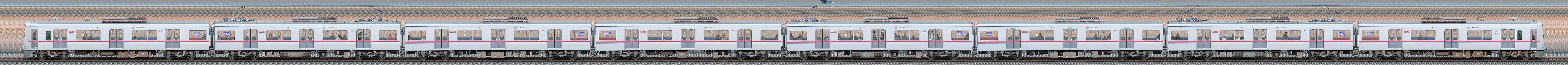 京成3000形(7次車/3050形)3051編成(デザイン変更後・山側)の編成サイドビュー