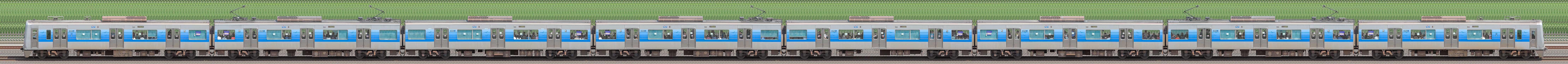 京成3000形(7次車/3050形)3052編成(デザイン変更前・海側)の編成サイドビュー