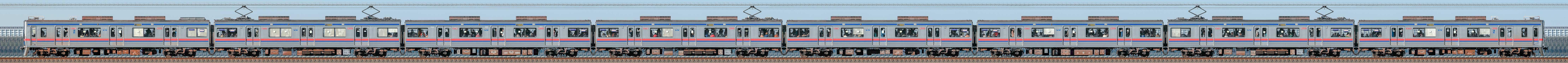 京成3700形(3次車)3778編成(海側)の編成サイドビュー