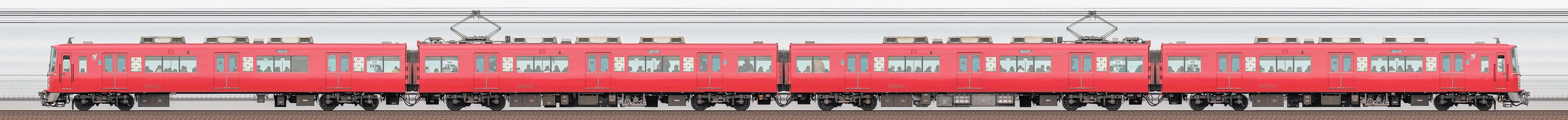 名鉄3500系(3次車)3513編成(更新車・海側)の編成サイドビュー