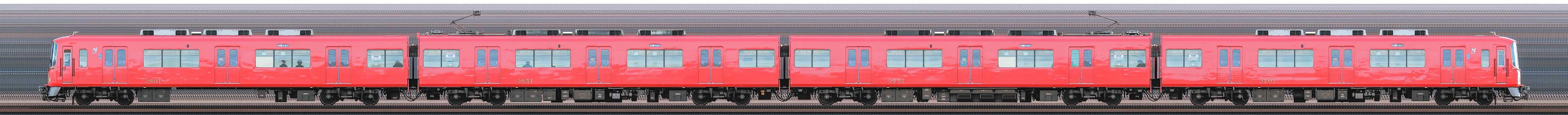 名鉄3700系3701編成(海側)の編成サイドビュー