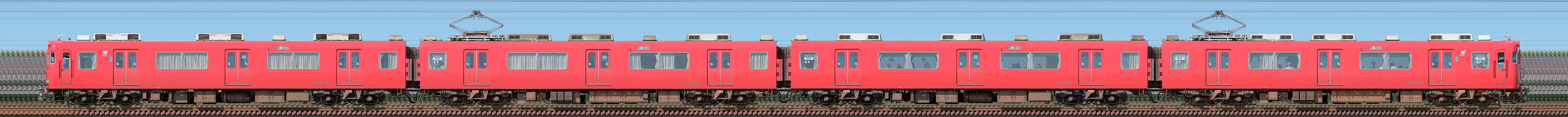 名鉄6000系(4次車)6017編成(山側)の編成サイドビュー