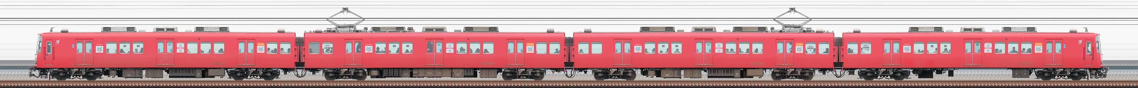 名鉄6500系(3次車)6510編成(山側)の編成サイドビュー