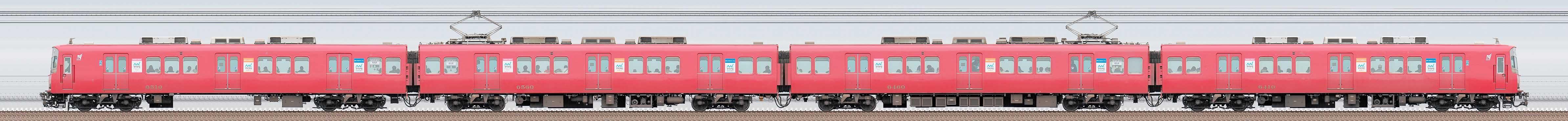 名鉄6500系(3次車)6510編成(海側)の編成サイドビュー