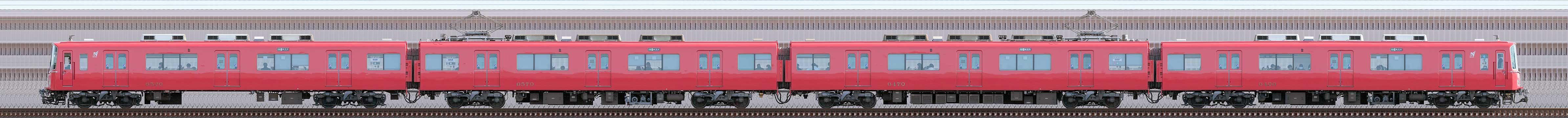 名鉄6500系(6次車)6520編成(海側)の編成サイドビュー
