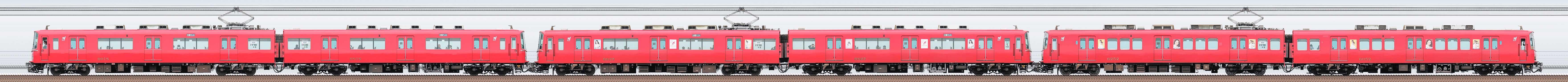 名鉄6800系6818編成+6800系6827編成+6000系6052編成(海側)の編成サイドビュー