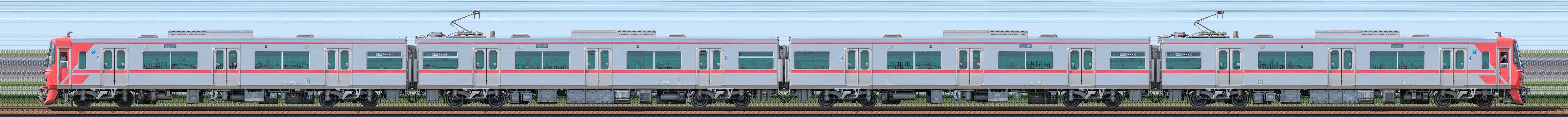 名鉄9500系9501編成(山側)の編成サイドビュー