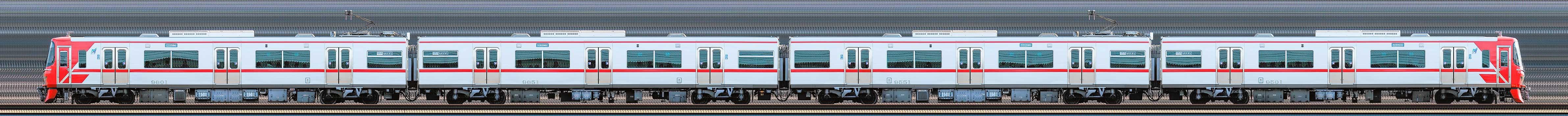 名鉄9500系9501編成(海側)の編成サイドビュー