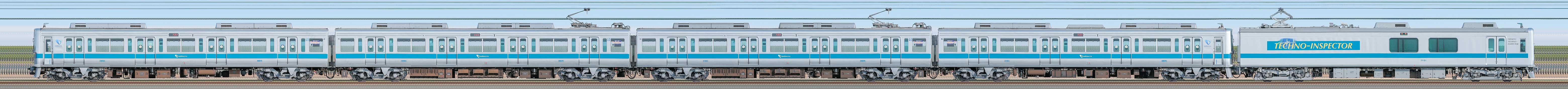 小田急1000形1051×4+クヤ31「テクノインスペクター」(山側)の編成サイドビュー