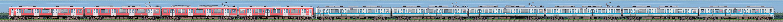 小田急1000形1059×4+1254×6(山側)の編成サイドビュー
