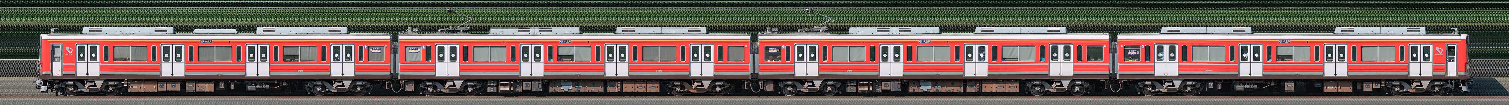 小田急1000形1060×4(レーティッシュ鉄道色・海側)の編成サイドビュー