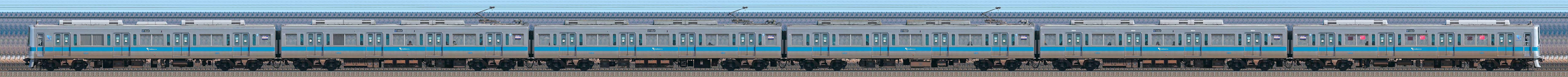 小田急1000形1253×6(山側)の編成サイドビュー