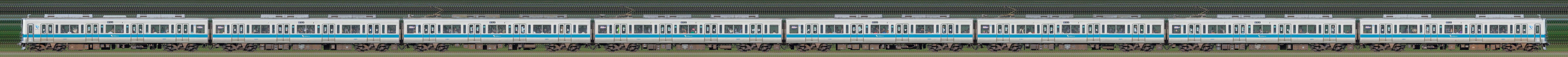小田急1000形1081×8(海側)の編成サイドビュー