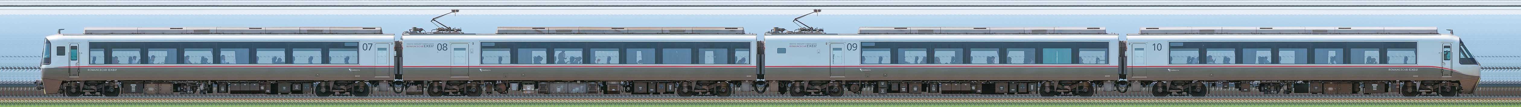 小田急30000形ロマンスカー「EXEα」30052×4(海側)の編成サイドビュー