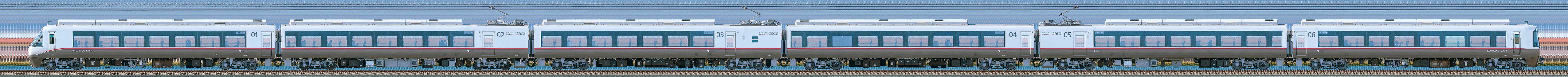 小田急30000形ロマンスカー「EXEα」30252×6(海側)の編成サイドビュー