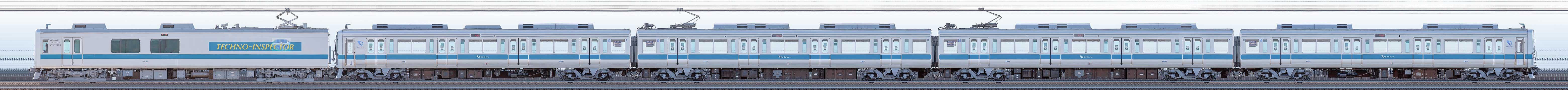 小田急1000形1051×4+クヤ31「テクノインスペクター」(海側)の編成サイドビュー