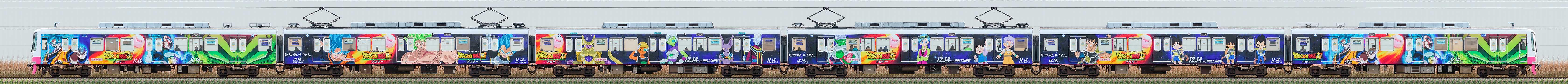新京成8800形8803編成「ドラゴンボール超 ブロリー」電車(海側)の編成サイドビュー