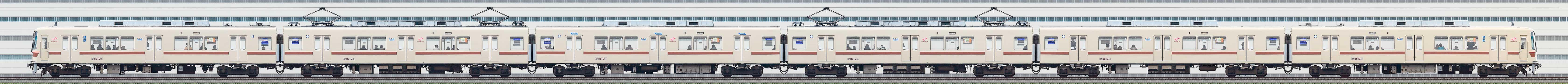 新京成8800形8810編成(旧塗装・海側)の編成サイドビュー