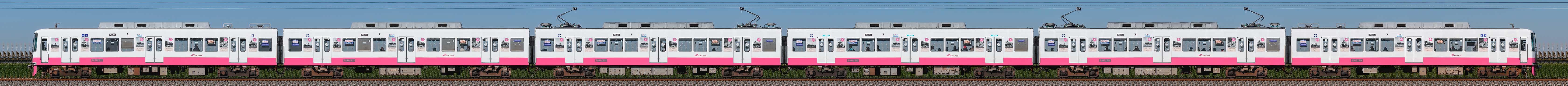 新京成8800形8816編成 開業70周年記念ギャラリー電車「今昔ギャラリートレイン」(山側)の編成サイドビュー