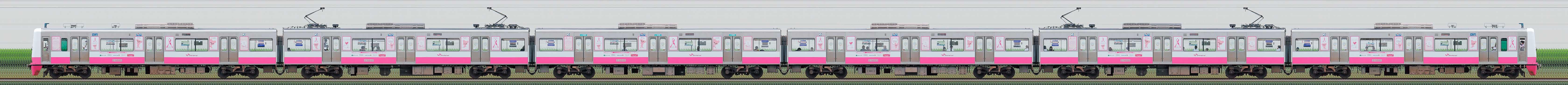 新京成N800形N848編成「新京成ピンクリボントレイン」(海側)の編成サイドビュー